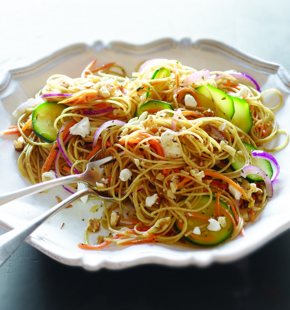 The Joy of Kosher Whole Wheat Spaghetti and Goat Cheese Crumble by Jamie Geller