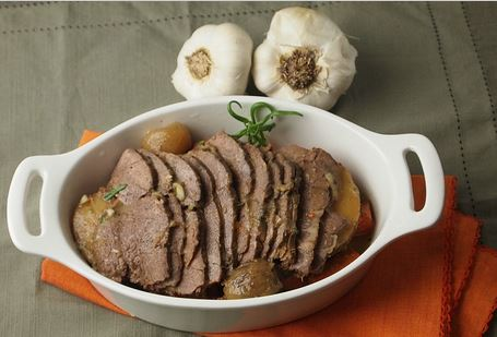 Brisket In A Pot With Garlic By Tamar Genger from JoyofKosher.com