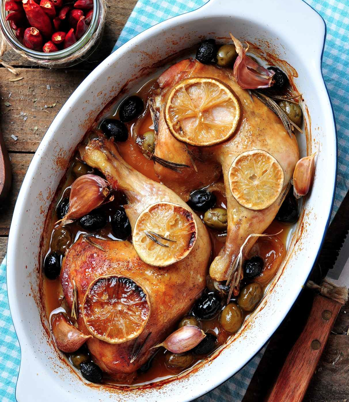 Chicken with prunes apricots and olives by Tamar Genger
